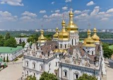 基辅Pechersk拉夫拉的鸟瞰图 基辅,乌克兰 免版税图库摄影