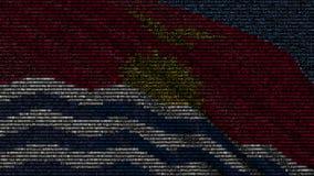 基里巴斯的挥动的旗子做了文本标志在屏幕 3d概念性翻译 皇族释放例证