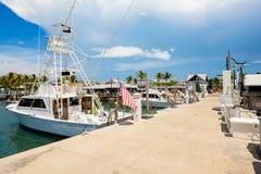 基韦斯特岛海岸线小游艇船坞 库存照片