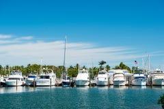 基韦斯特岛,美国- 2016年2月08日:游艇和帆船停泊了在晴朗的蓝天的海码头 乘快艇和航行概念 Su 免版税库存照片
