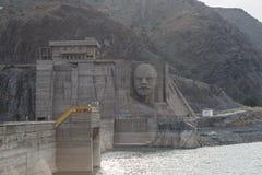 基洛夫水库水坝 修造1965年- 1975年,列宁在广告的` s面孔 库存照片