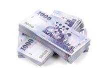 堆一千张新台币钞票 免版税库存图片