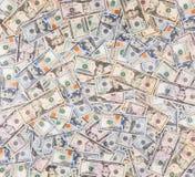 堆一百元钞票新的设计,六十美元发单,二十,十,五美元票据 图库摄影