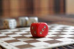 堆三白色塑料切成小方块和在棕色木板背景的一个红色模子 与黑小点的六个边立方体 第3, 2 免版税库存照片