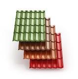堆不同的颜色金属化瓦屋顶涂层 3d illustrati 库存图片