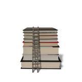 堆与在白色隔绝的木梯子的书 免版税库存照片