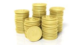 堆与日元标志的金黄硬币 免版税图库摄影