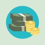 堆与金黄硬币平的象的纸币 免版税图库摄影