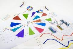 堆与财政报告和统计的纸张文件 免版税库存图片