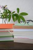 堆与玻璃的书在木书桌上 免版税库存图片