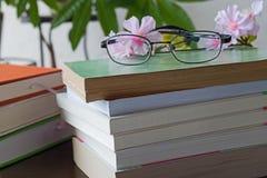 堆与玻璃的书在木书桌上 图库摄影