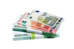 堆与100, 10和5欧元的票据 免版税库存照片
