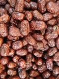 堆中国日期或枣或者红色约会一份健康食谱 免版税库存照片