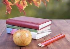 堆书、铅笔和黄色苹果 回到学校的系列 库存照片