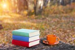 堆书和一个杯子在老木桌上的热的咖啡在日落的森林里 回到学校 登记概念教育查出的老 免版税图库摄影