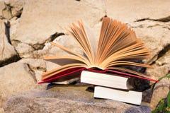 堆书和开放精装书在被弄脏的自然风景背景预定 复制空间,到学校 教育背景 免版税图库摄影