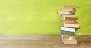 堆书,全景,好拷贝空间,教育,读书, bac 免版税图库摄影