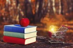 堆五颜六色的书和在老木桌上的一个苹果在日落的一个黑暗的森林里 购物车和电灯泡 库存照片