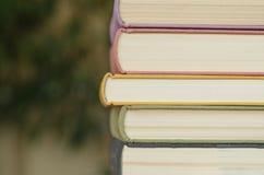 堆五颜六色的书在图书馆里 免版税库存图片