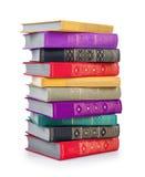 堆五颜六色的葡萄酒书 免版税库存图片