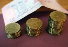 堆从乌克兰银行的硬币 乌克兰类型硬币:戈贝克 银行业务,税,债务的概念,当被弄脏 免版税库存图片