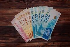 堆以色列金融法案200, 100, 50锡克尔 免版税库存照片