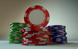 赌博的芯片今后堆积面孔 库存图片