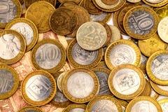 堆俄国硬币 免版税库存图片