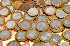 堆俄国硬币 免版税图库摄影