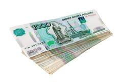 堆俄罗斯卢布票据 库存照片