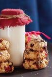 堆健康曲奇饼用杏干、蔓越桔和oatmills 图库摄影