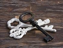 堆古色古香的白色和黄铜钥匙 库存照片