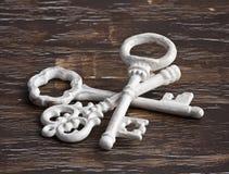 堆古色古香的白色钥匙 免版税库存图片