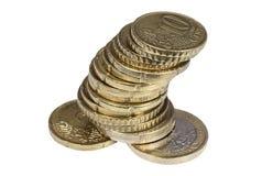 堆古铜色欧分硬币 免版税库存图片