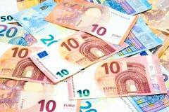 堆各种各样的金钱或货币的b种类欧洲钞票用途 免版税库存图片