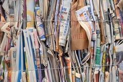 堆回收的纸 免版税库存照片