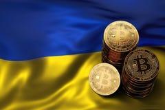 堆在乌克兰旗子的Bitcoin硬币 Bitcoin和其他cryptocurrencies的情况在乌克兰 皇族释放例证