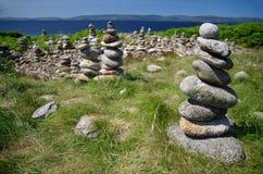 堆在小岛的岩石艾伦(苏格兰) 库存图片