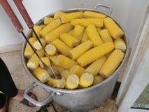 堆在巨大的罐的甜玉米 图库摄影