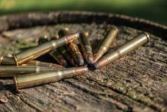 堆在木头的子弹 免版税库存照片