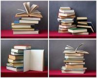堆在桌上的书与一张红色桌布 库存照片