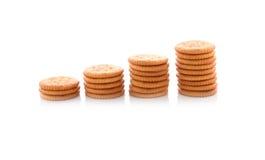 堆在白色的圆的薄脆饼干 免版税库存照片