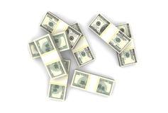 堆在白色背景的一百美元钞票 顶视图 库存例证