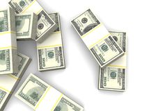 堆在白色背景的一百美元钞票 顶视图 皇族释放例证