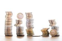 堆在白色背景的欧洲硬币 免版税图库摄影