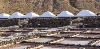 堆在盐沼de Janubio,兰萨罗特岛的盐 免版税图库摄影