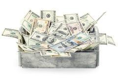堆在箱子的美国金钱老和新的一百元钞票在有拷贝空间的白色背景裁减路线 免版税库存图片