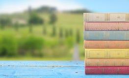 堆在被弄脏的自然背景的书, 免版税库存照片
