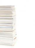 堆在被隔绝的桌上的名片 免版税库存图片