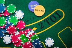 堆在赌博娱乐场的纸牌筹码 免版税库存照片
